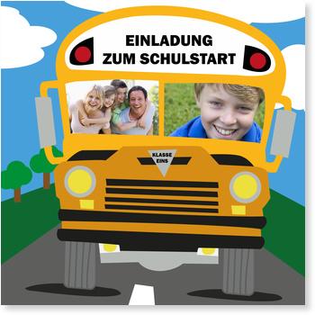 Schulbus Einladungskarten Einschulung