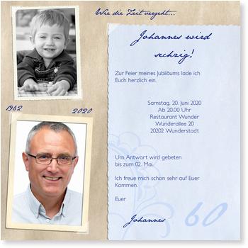 Erinnerungsalbum Einladung zum 60. Geburtstag