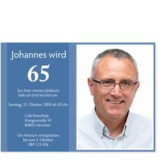 Geburtstagskarte mit Zahl - Blau