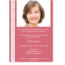 Stilvolle rosafarbene Einladung zum 60.
