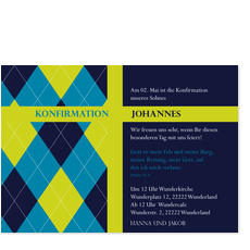 Konfirmation - Modernes Muster - Blau