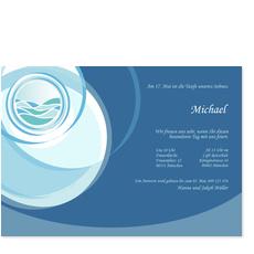 Moderne Taufeinladung: Welle